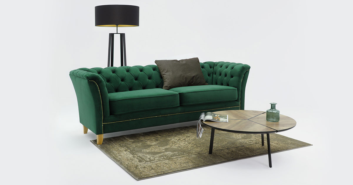 Quilted sofas in glamour style
