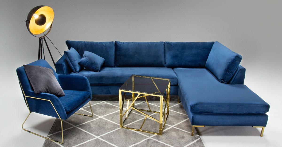 Velour corner sofa