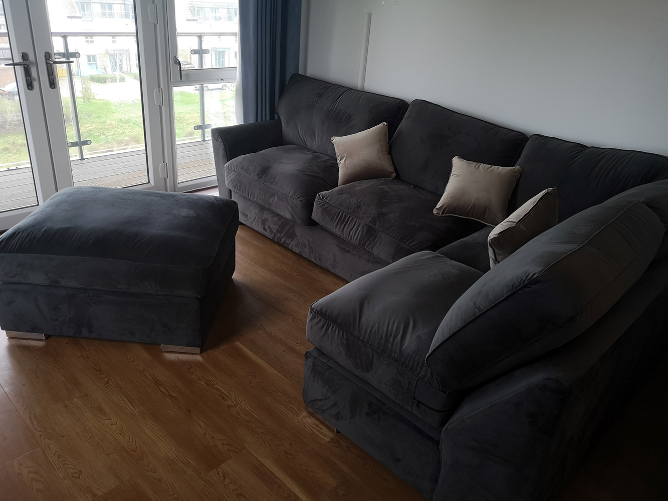 Majestic - graphite corner sofa in English style with fixed backrest cushions