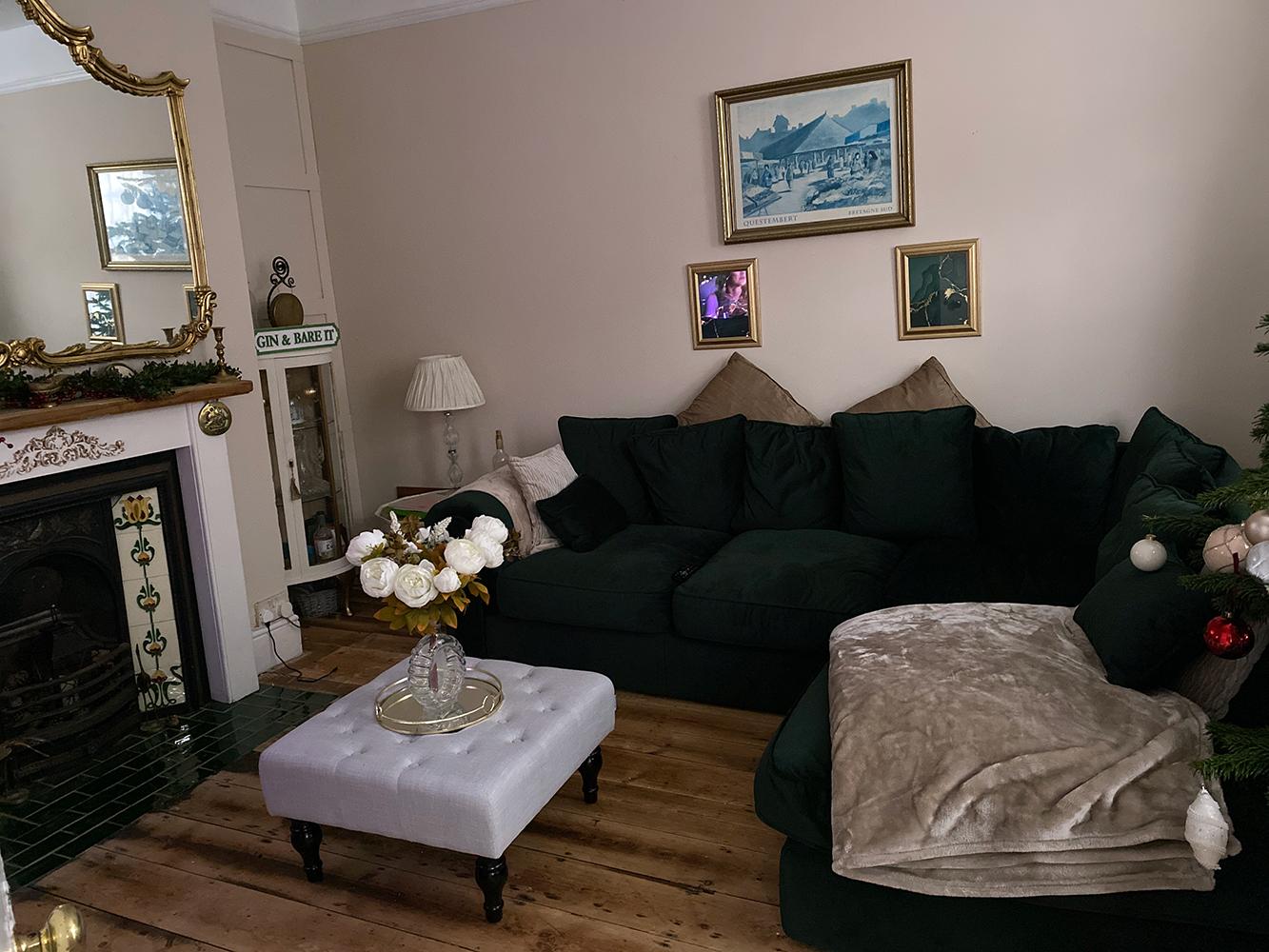 Bottle green corner sofa Baron, velour fabric