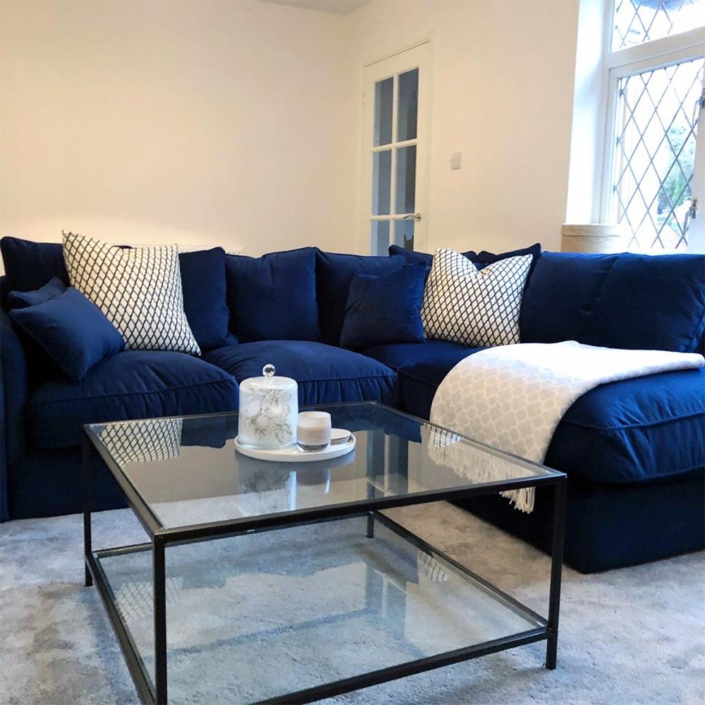 Elegant Navy Baron Corner Sofa