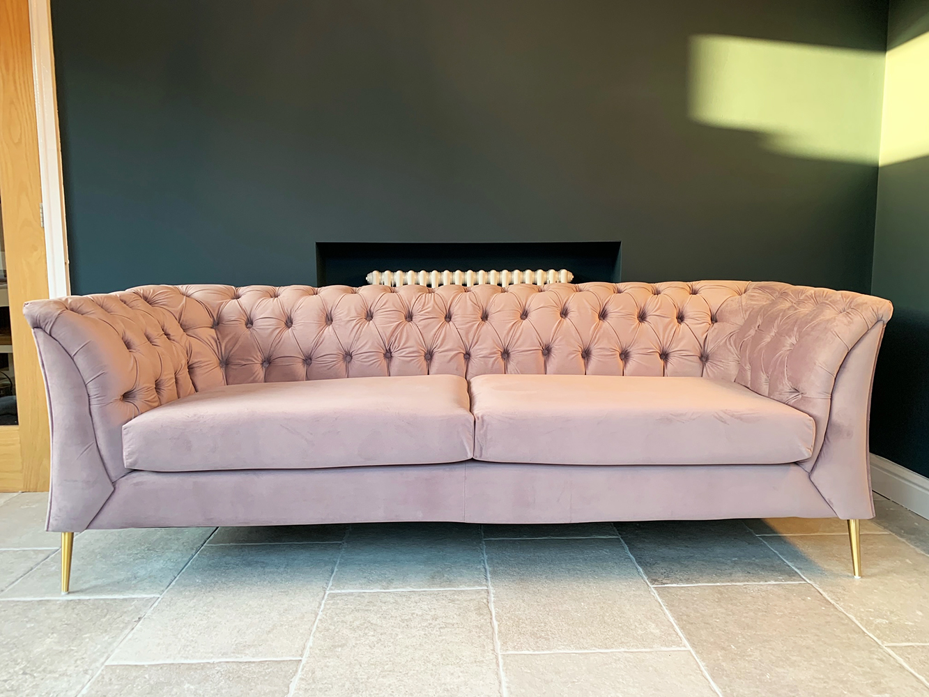 Lilac sofa Chesterfield Modern, velour material, gold legs