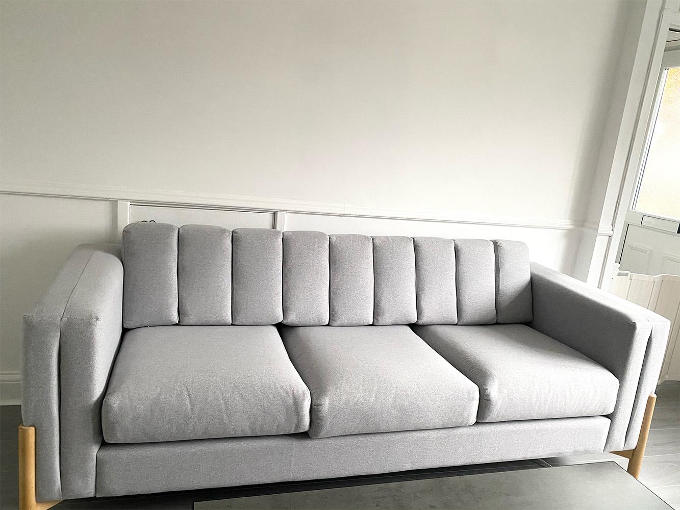 Light grey Scandinavian sofa Cloud with wooden legs