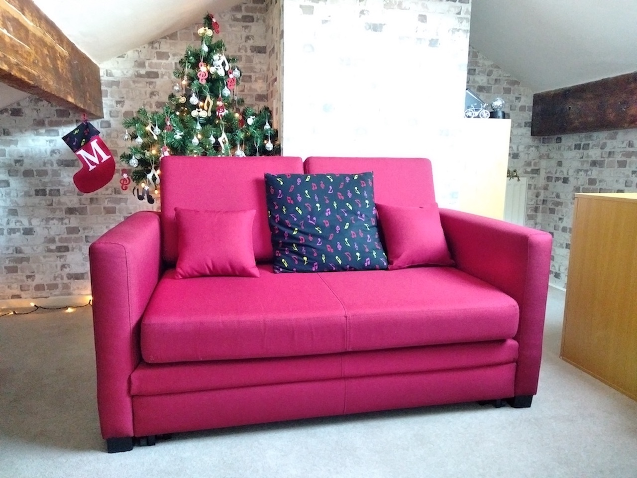 Red sofa bed for two people Boom
