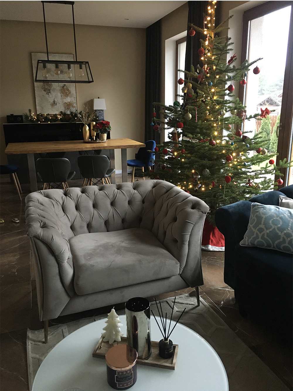 Grey Chesterfield Modern armchair in a festive arrangement