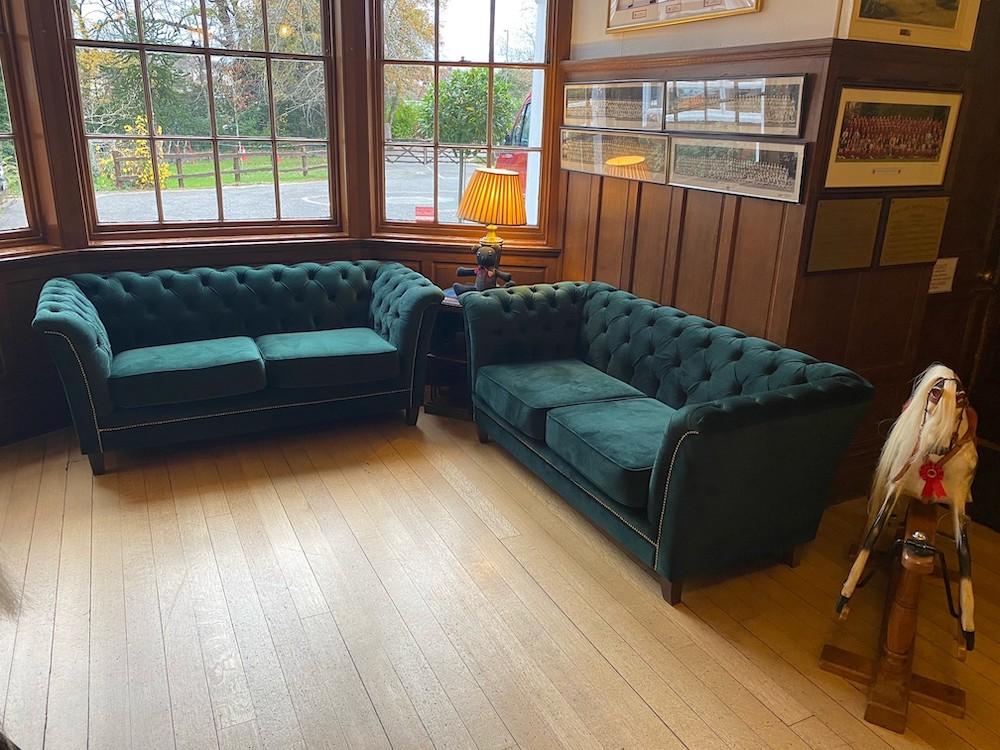 Karin dark green quilted sofas