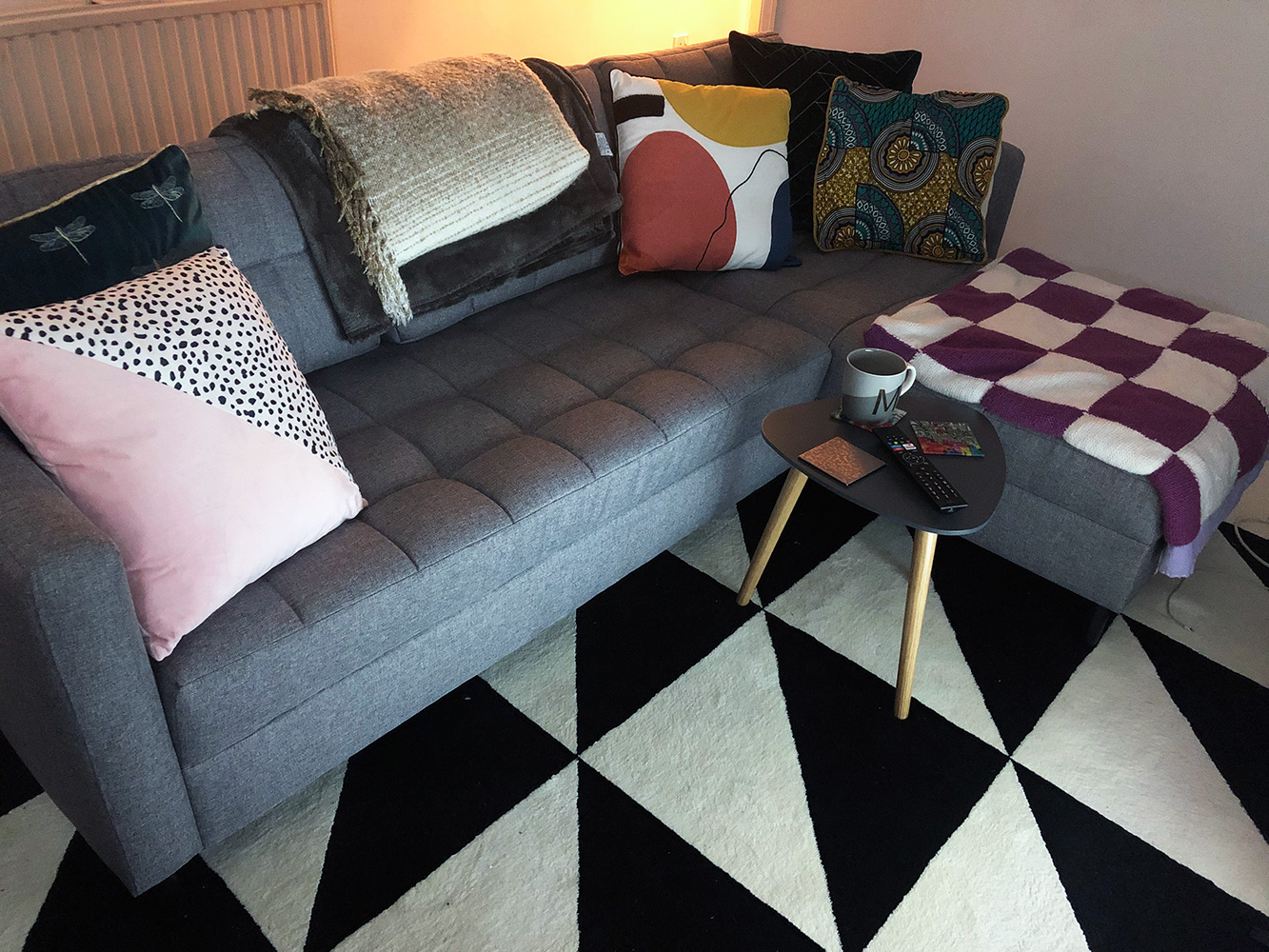 Grey right corner sofa Ludo