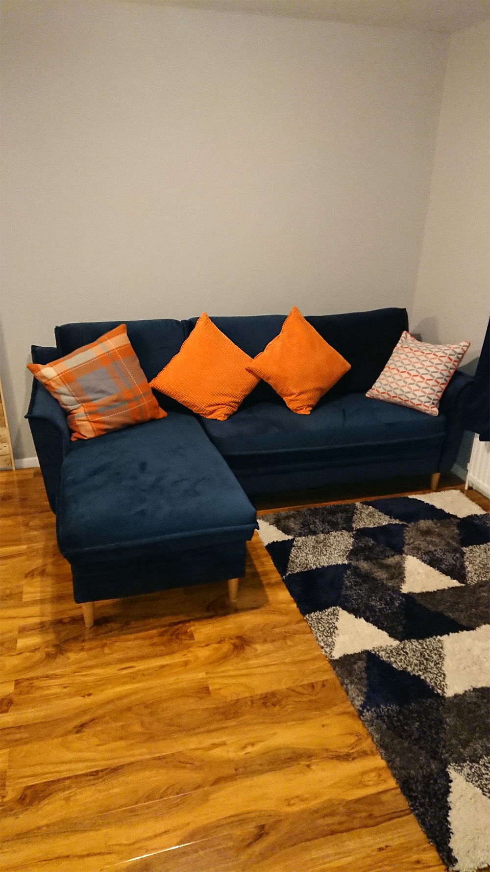 Navy blue corner sofa with sleeping function Amour