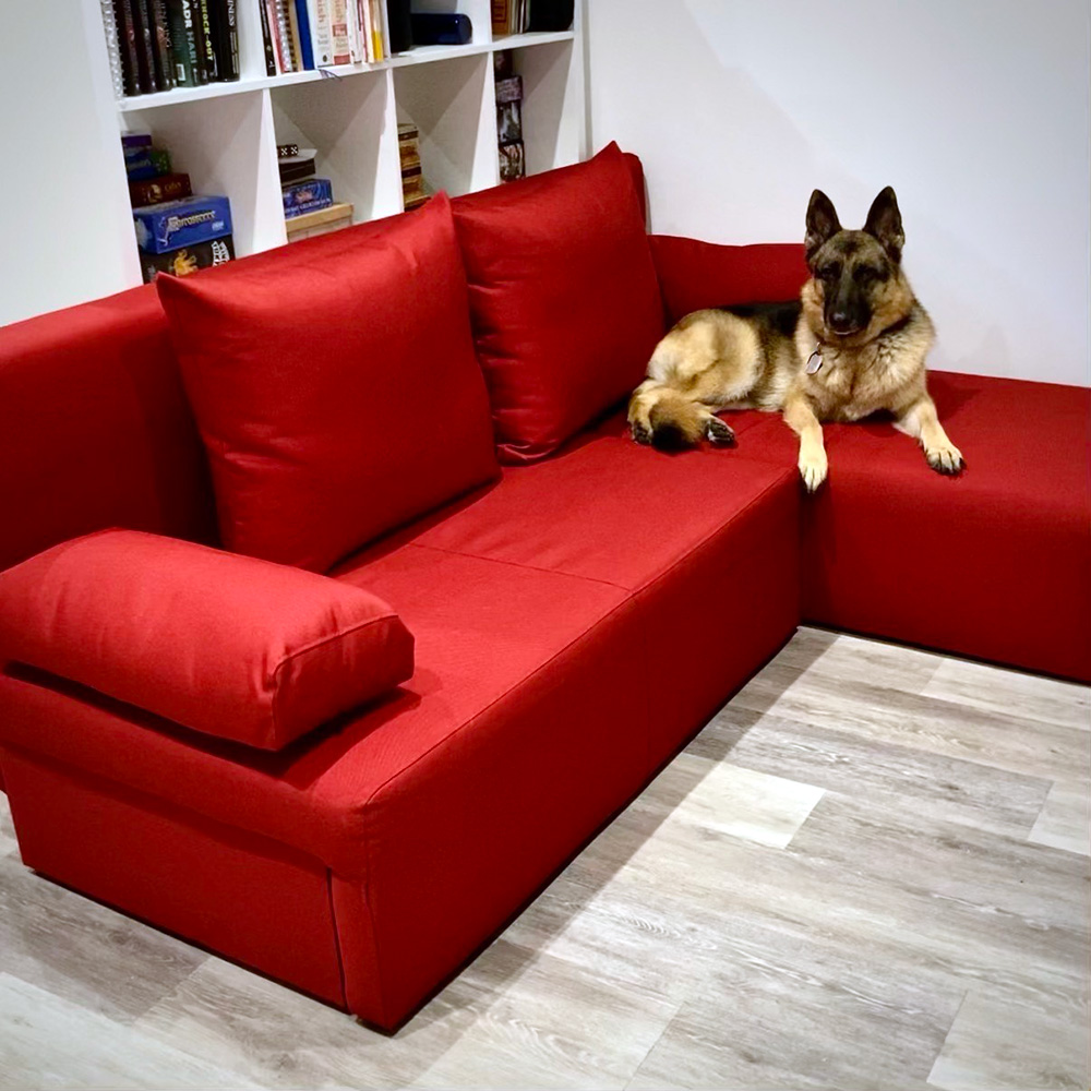 Small corner sofa with a sleeping function Novel, red color