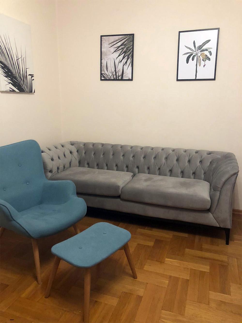 Chesterfield Modern Wood double sofa and Ducon eiderdown armchair