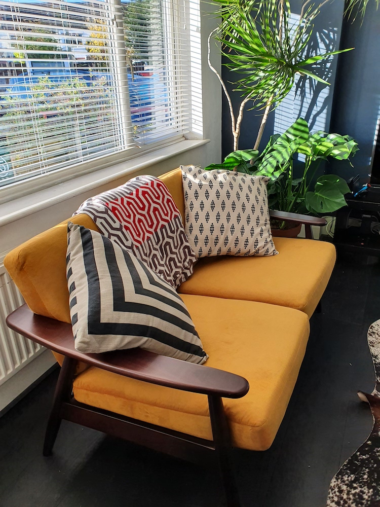 Mustard double sofa Demure on a wooden frame