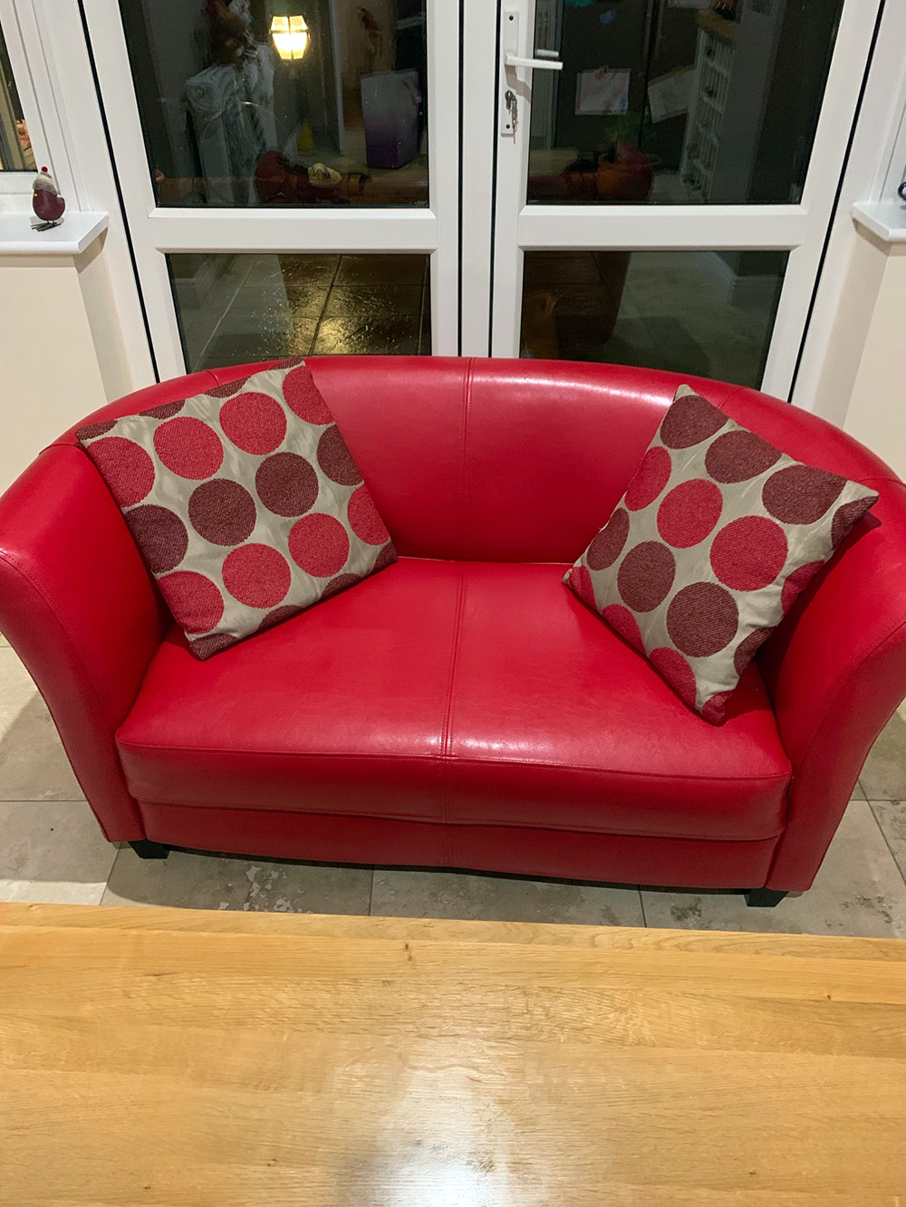 Red eco leather sofa Hobby