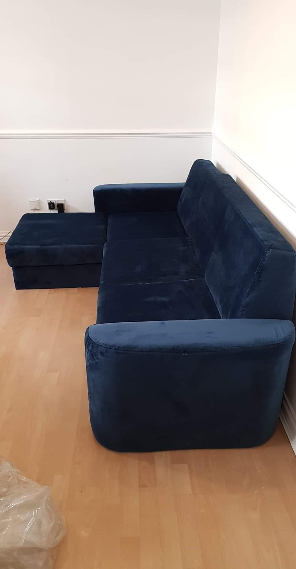 Blue velour corner sofa with sleeping function Elegance
