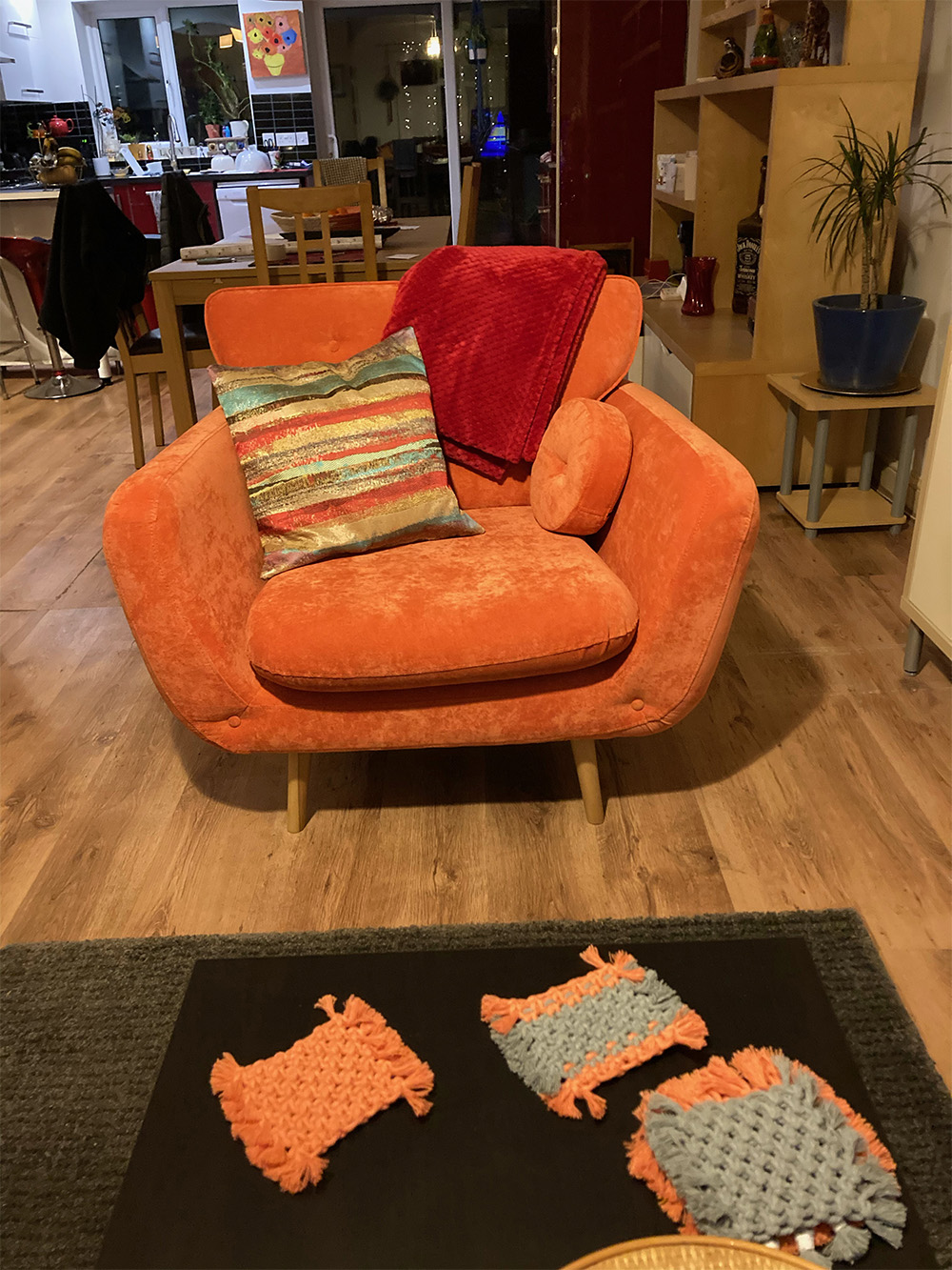 Orange retro armchair Rea