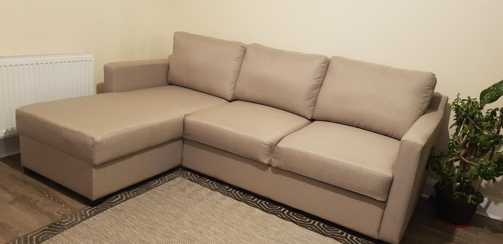 Beige left corner sofa with sleeping function - Kropp