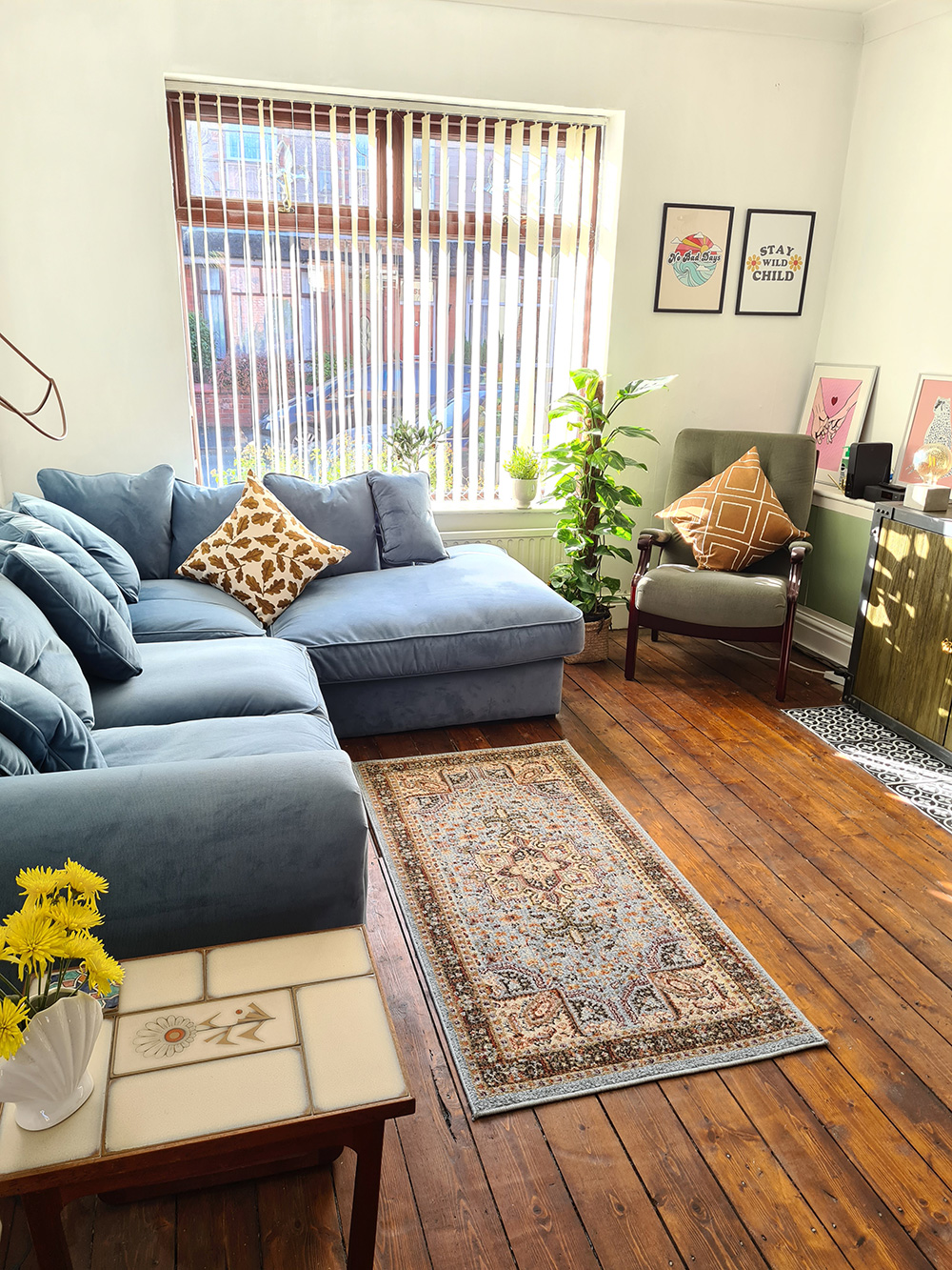 Large blue Baron right-hand corner sofa in velour fabric