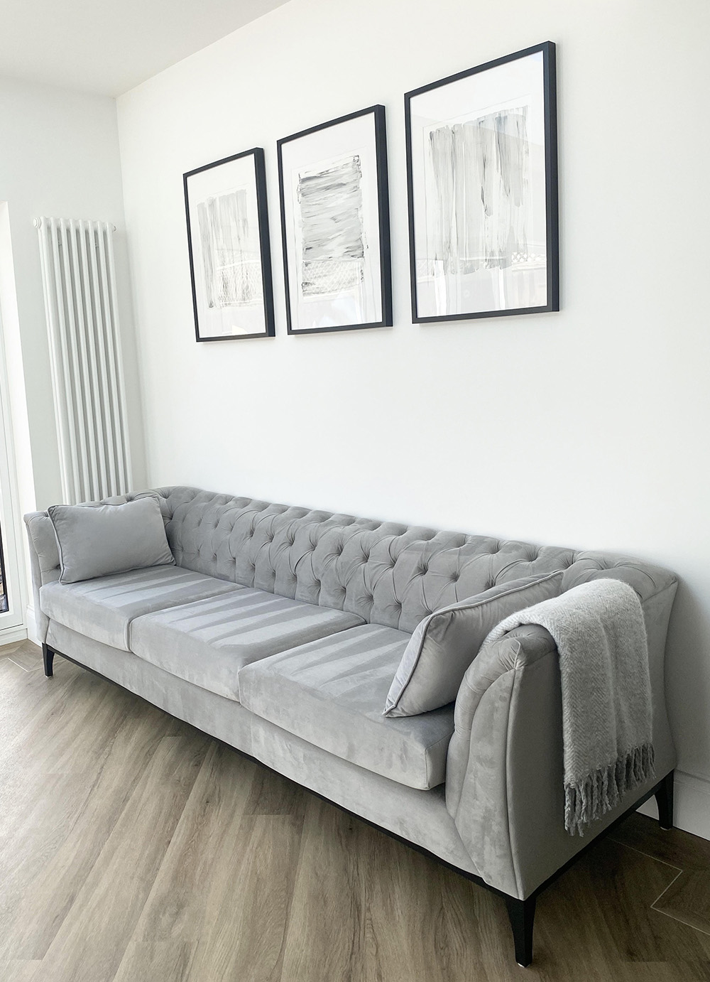 Grey Chesterfield Modern Wood three seater sofa with black wooden legs