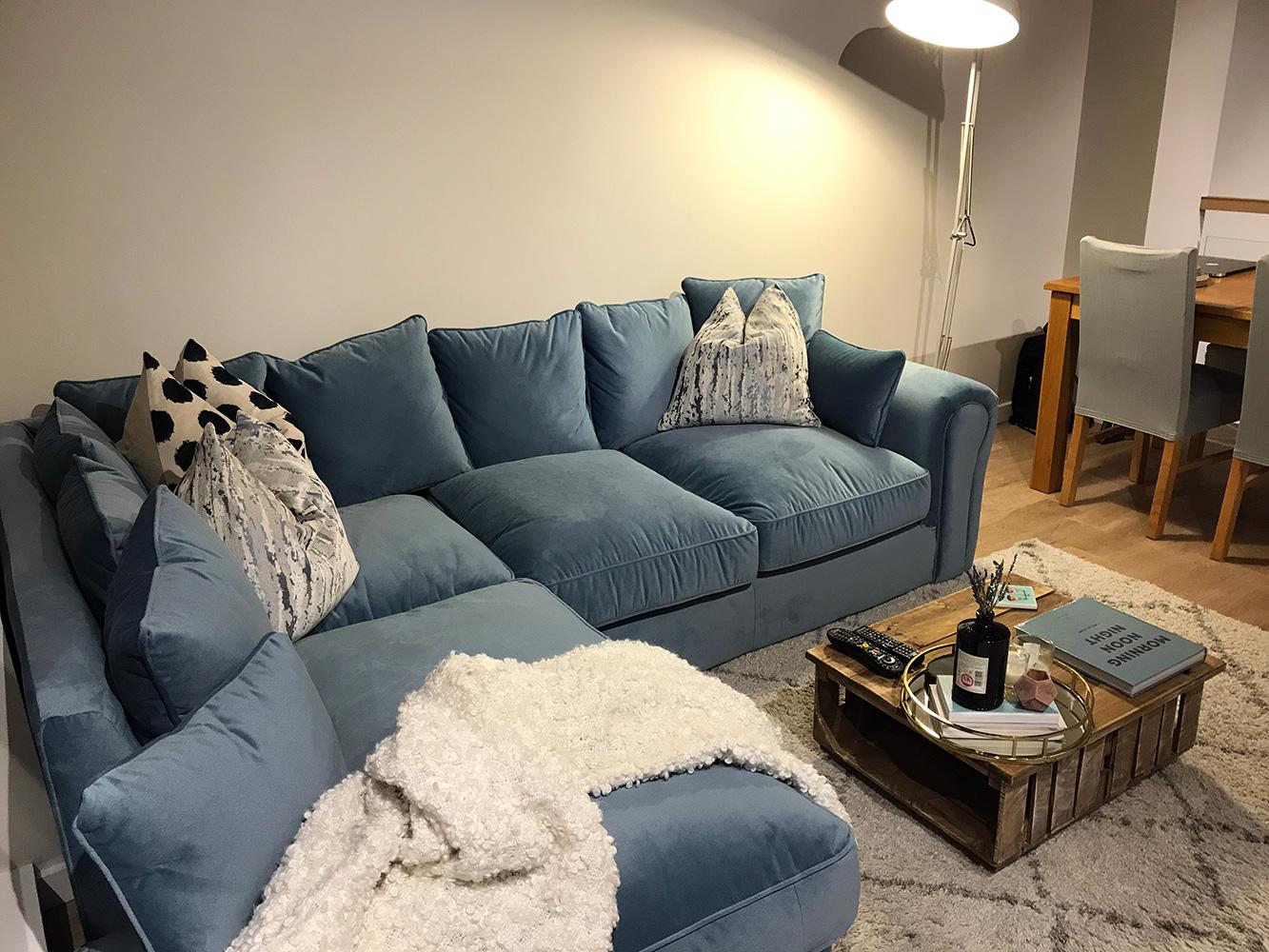 Blue Baron left corner sofa