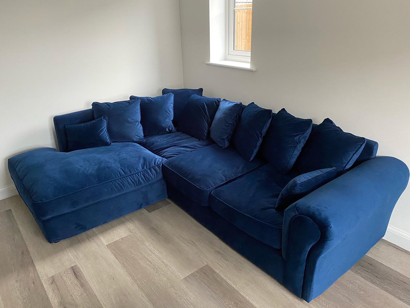 Navy blue corner sofa with soft cushions Baron