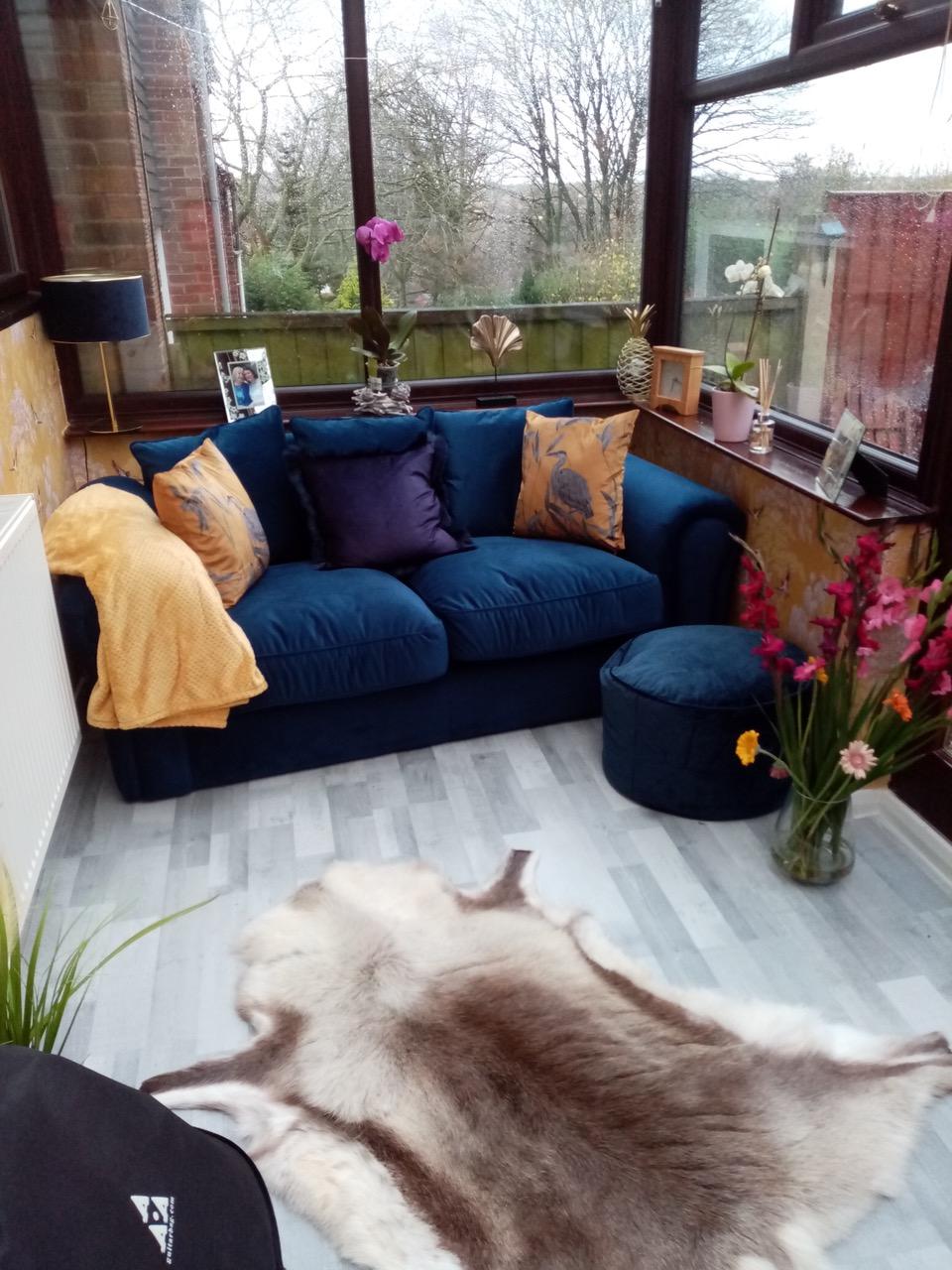 Dark blue double sofa Baron