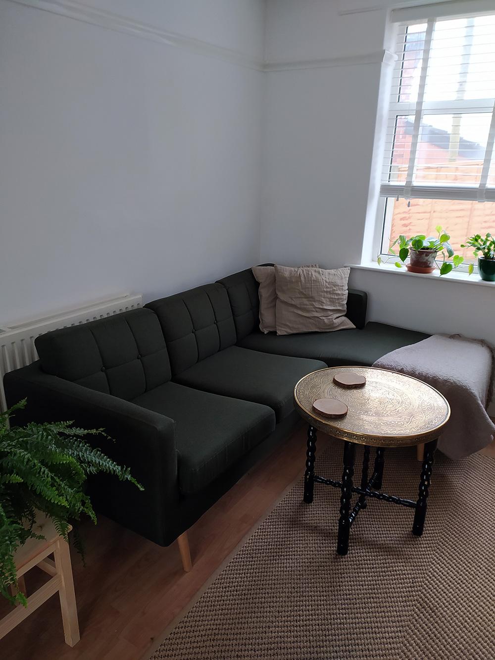 Dark green right corner sofa Brest