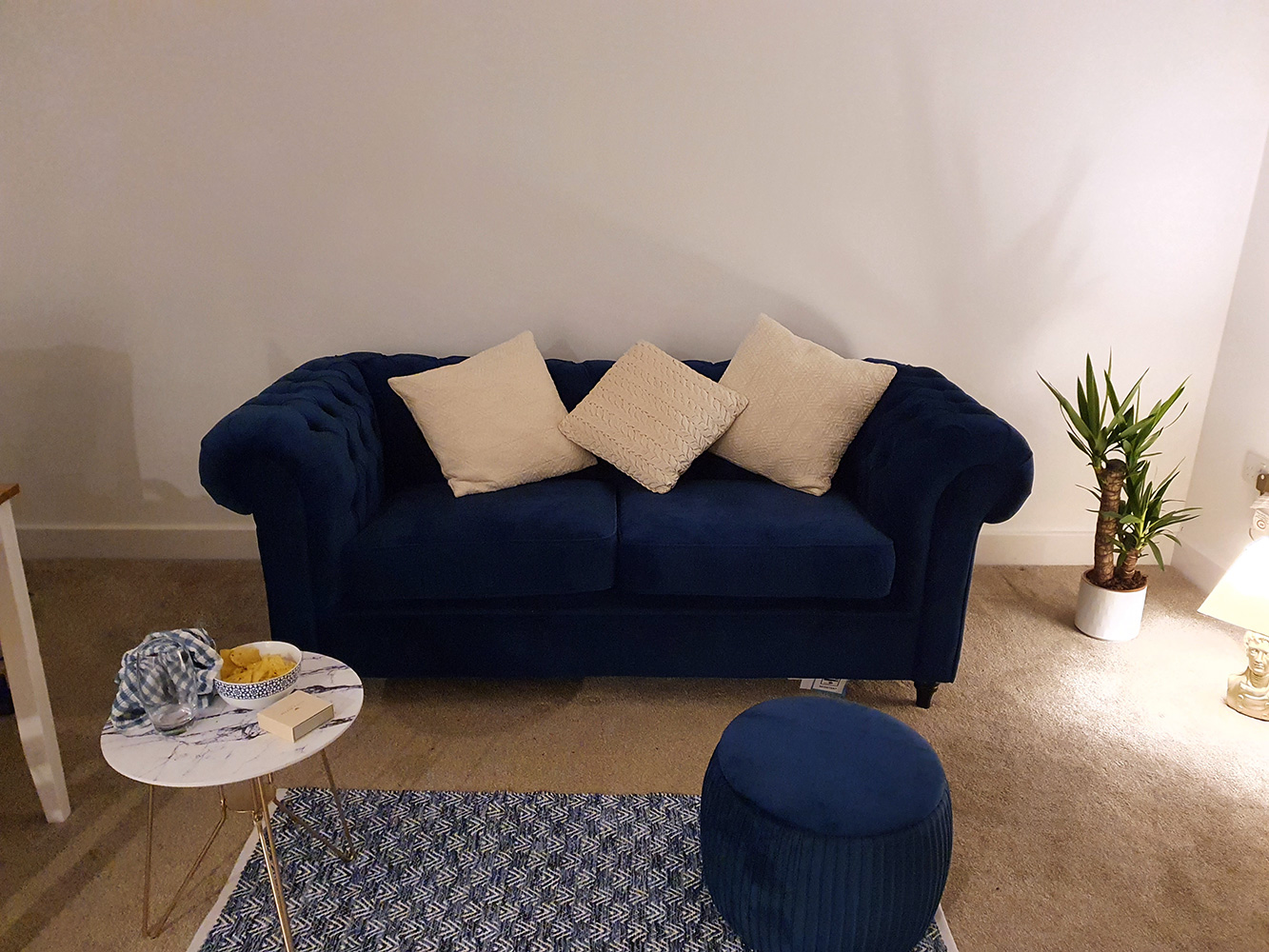 Navy blue Chesterfield sofa from Sophie