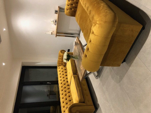 Yellow velour Chesterfield Max sofas