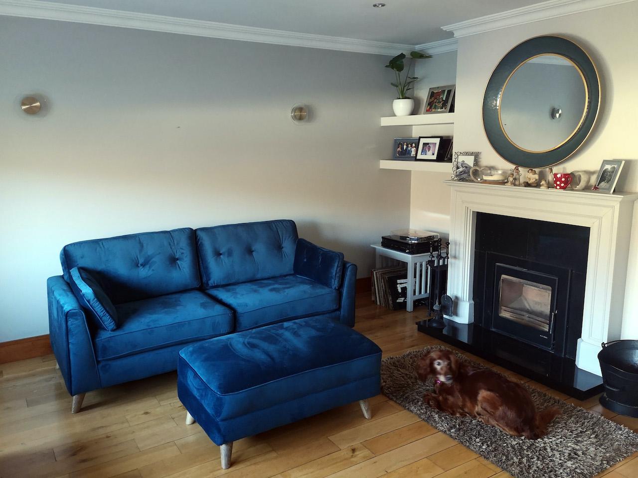 Navy blue Magnus sofa + footstool
