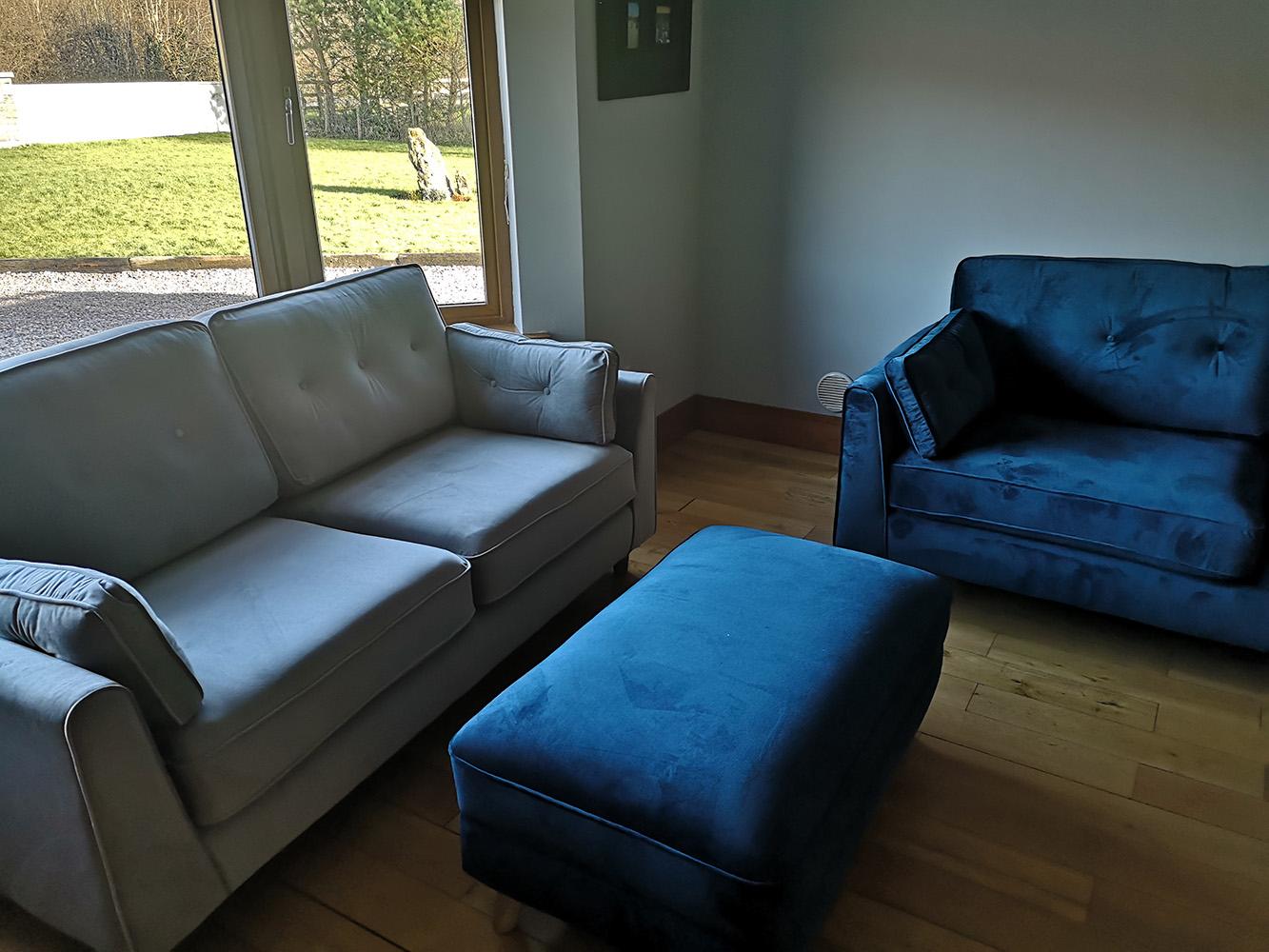 Light blue and navy Magnus sofa