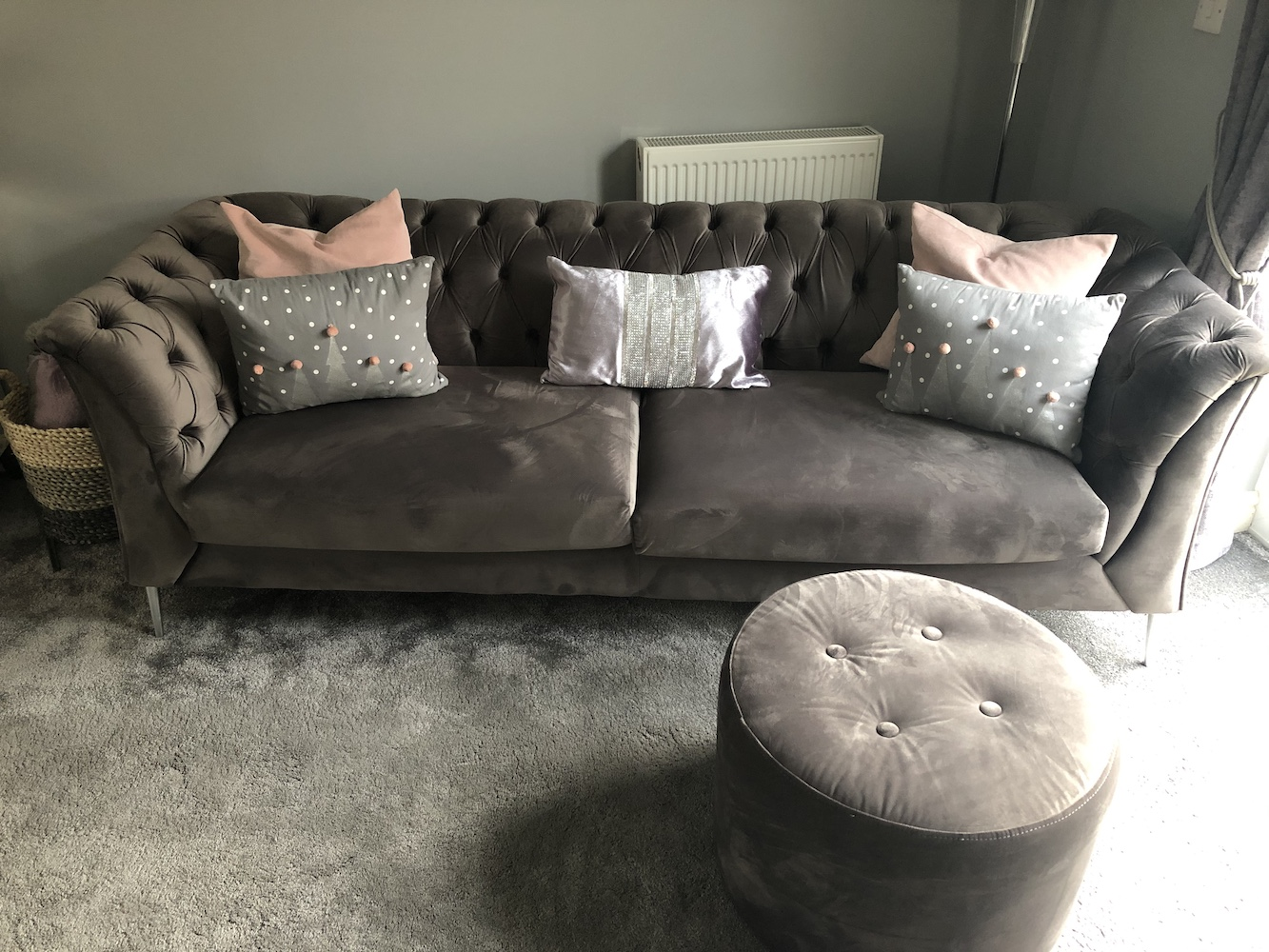 Velour sofa Chesterfield Modern