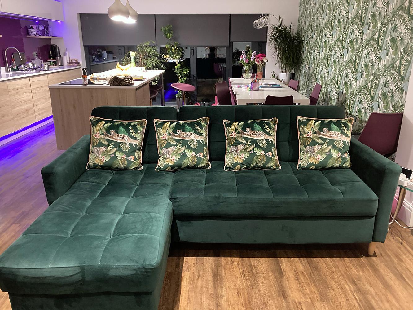 Green Velocity corner sofa