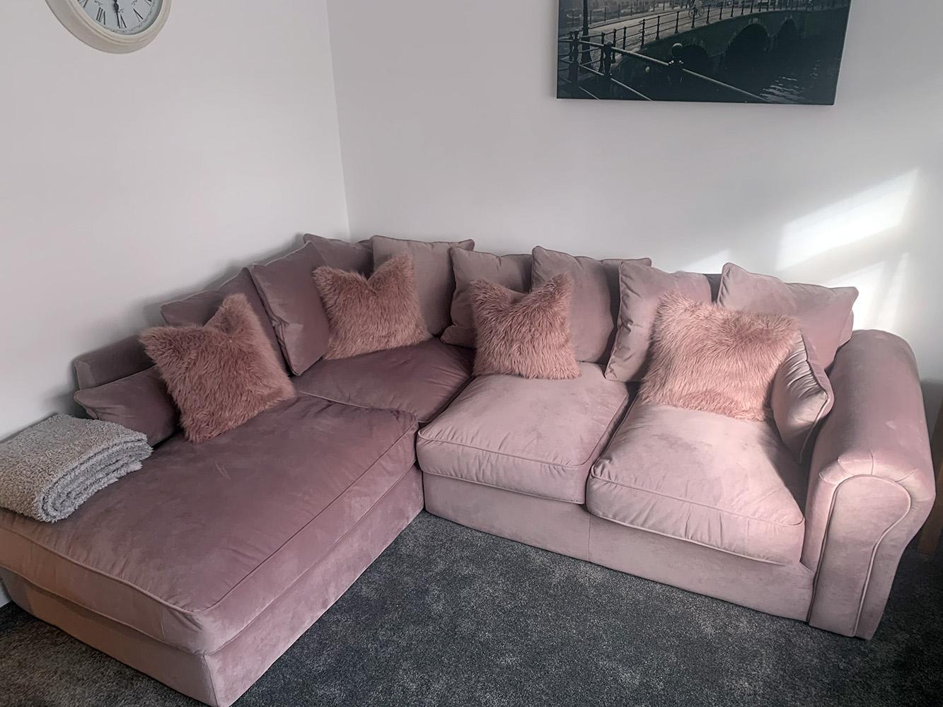Baron velour corner sofa in powder pink from Emily