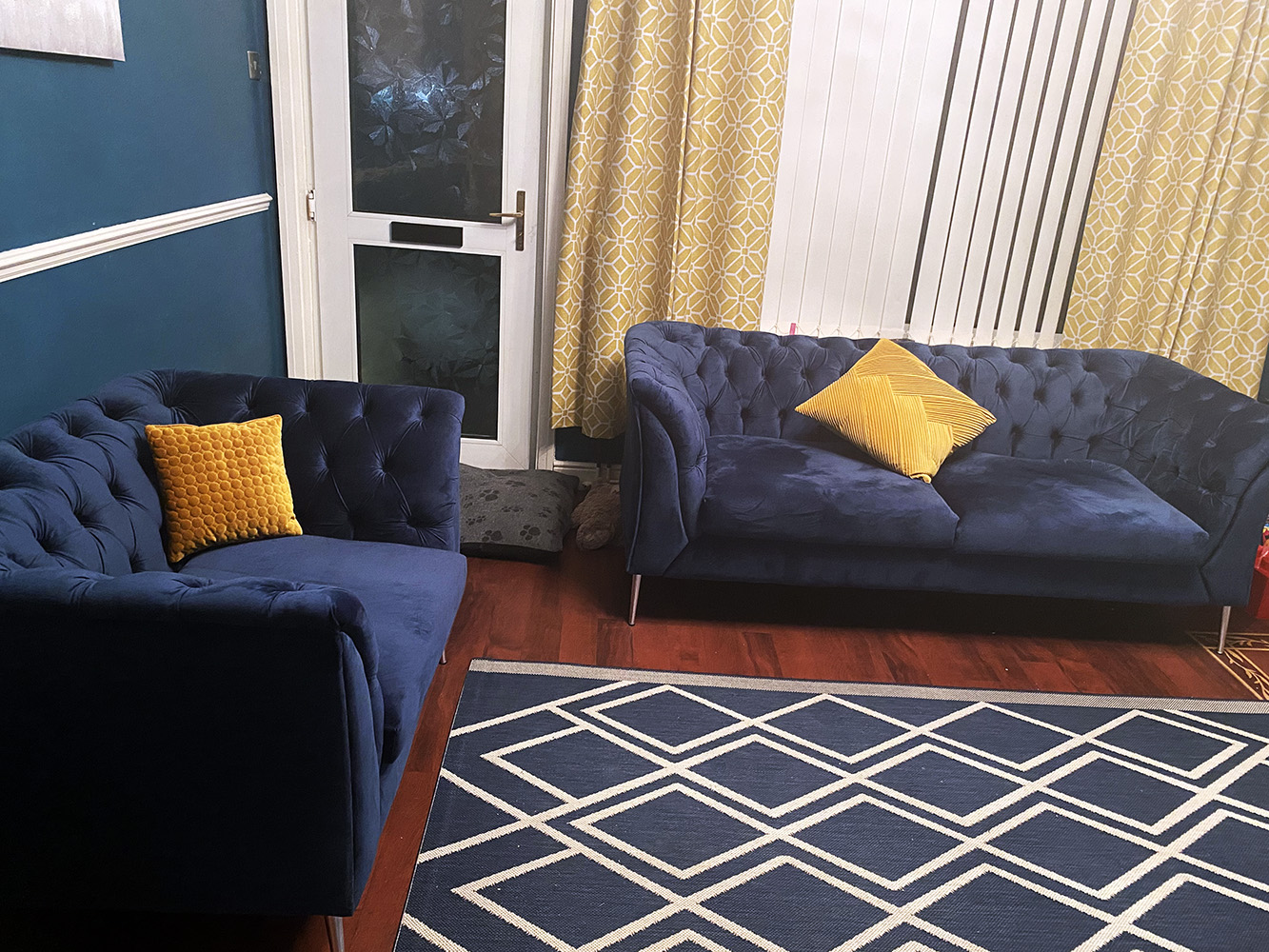 Navy blue Chesterfield Modern sofa from Lindsay