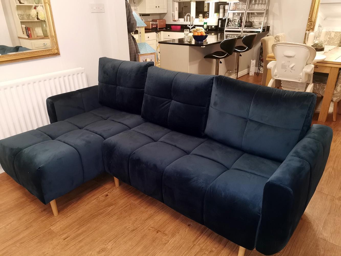 Navy blue Globe corner sofa from Laura