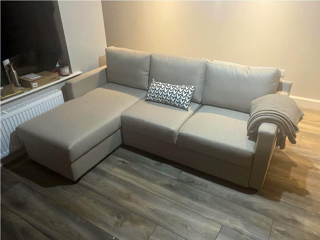 Beige corner sofa with sleeping function Kropp from Karan