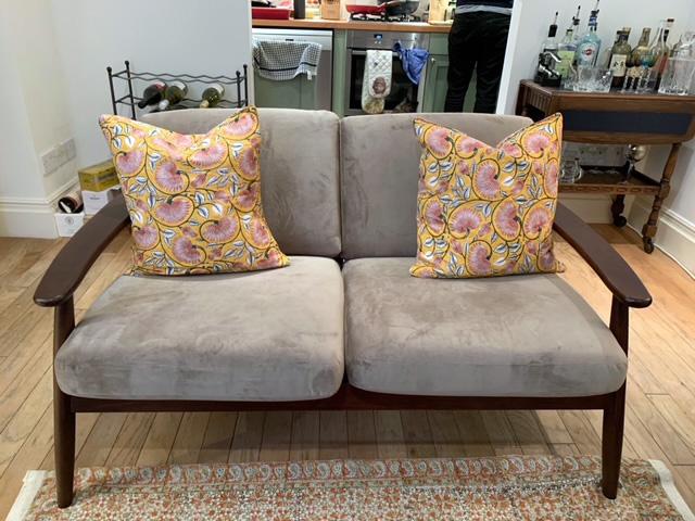 Grey Demure sofa from Indah