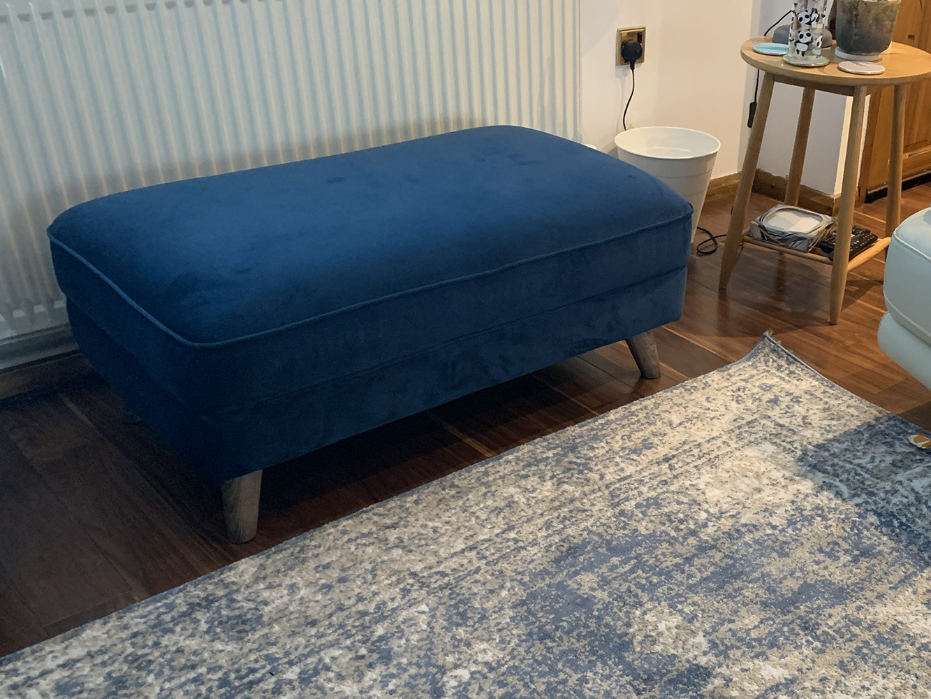 Blue Magnus footstool from Lucie