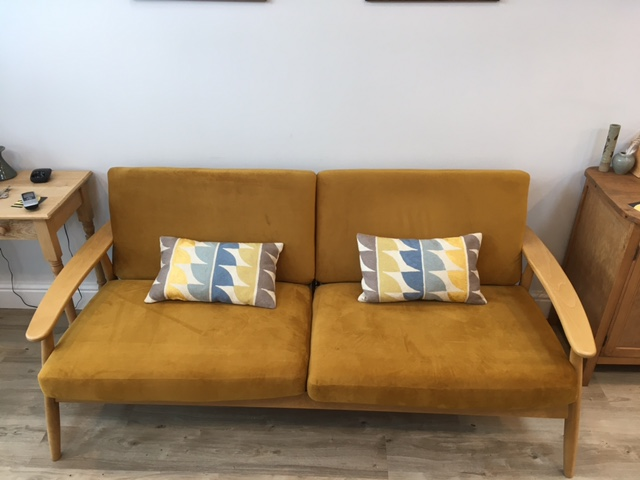 3-seat sofa on a wooden frame Demure, mustard-coloured