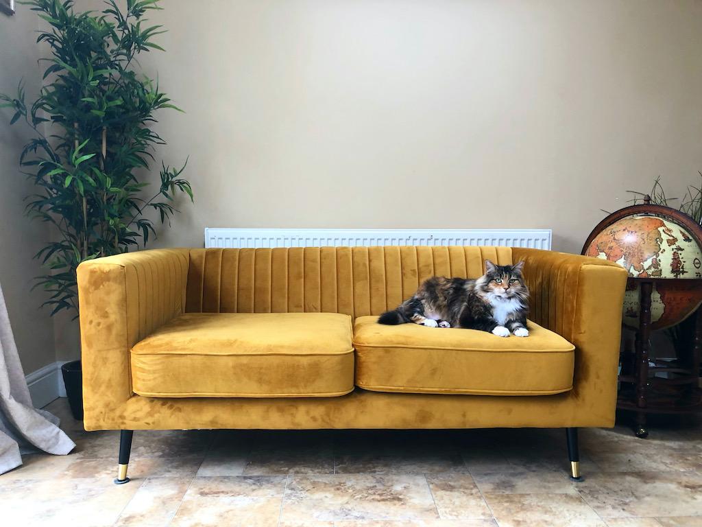 Mustard Slender sofa in beige interior