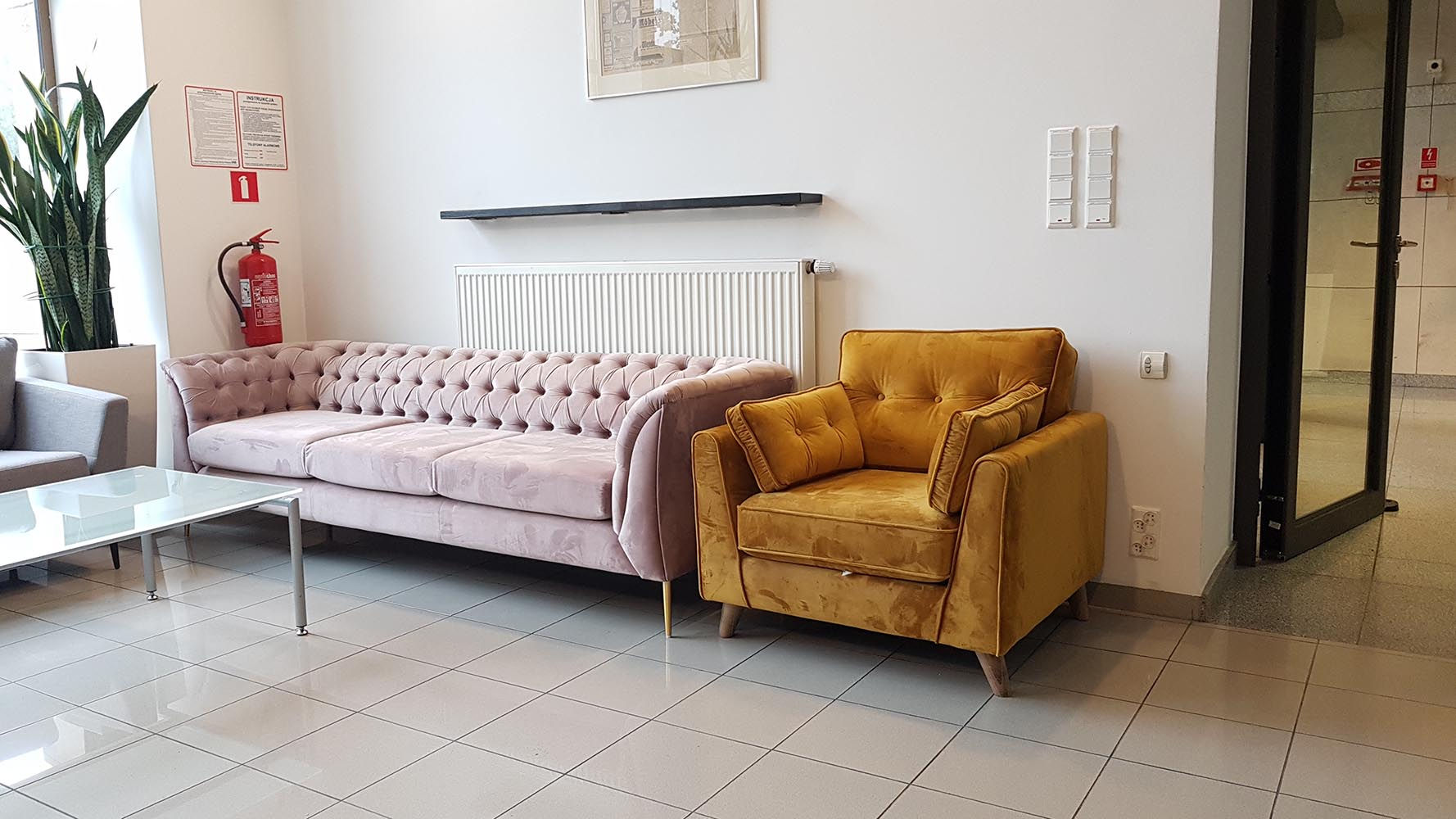 Chesterfield Modern Sofa and Magnus armchair