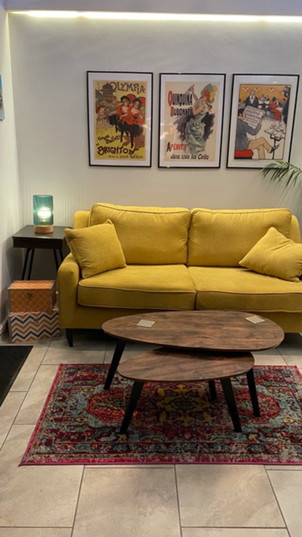 Yellow upholstered three-person sofa Orson