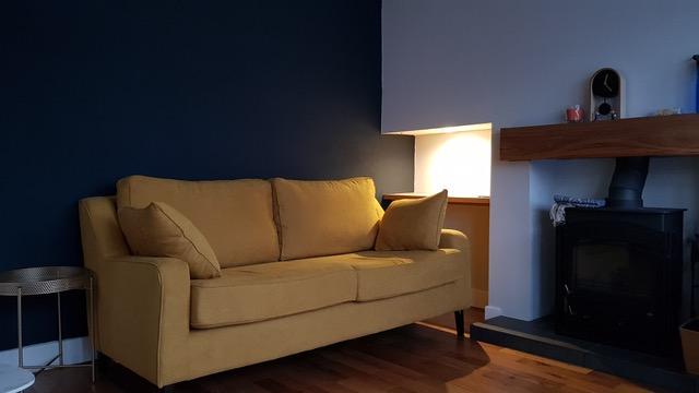 Yellow Orson sofa, classic style