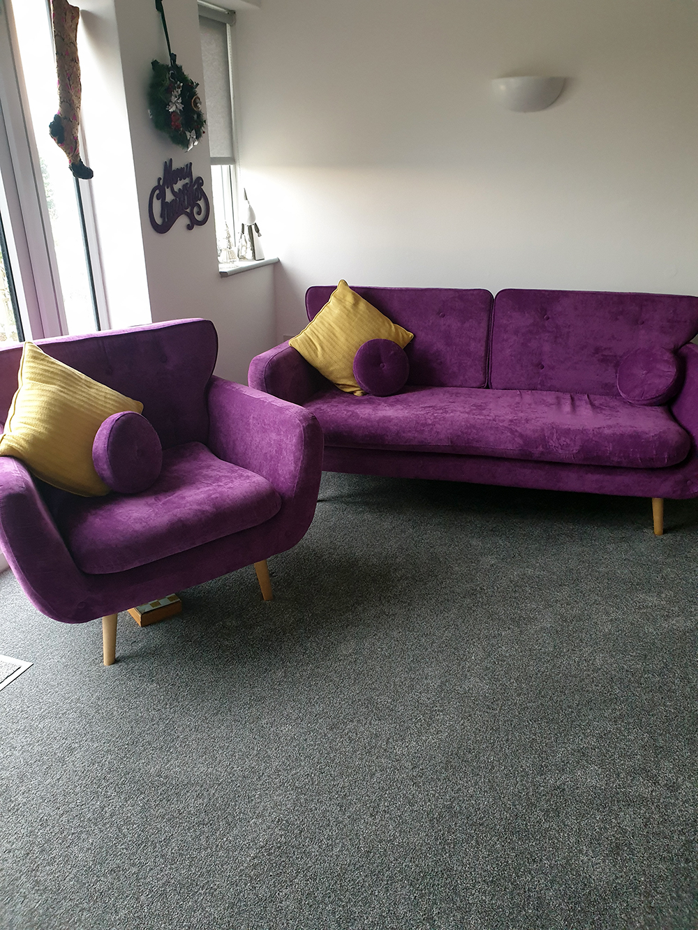 Rea purple sofa and armchair