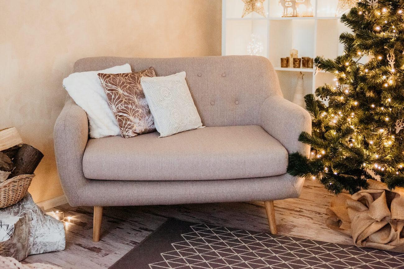 Light Grey Small Retro Sofa Revive
