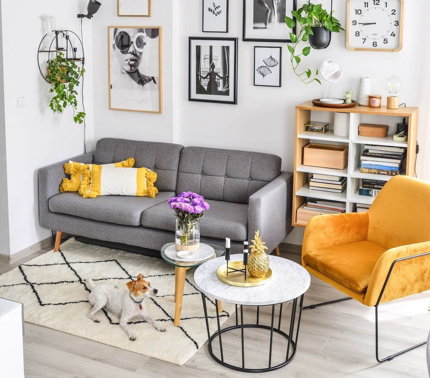 Small Grey Retro Sofa and Yellow Armchair on Black Metal Frame