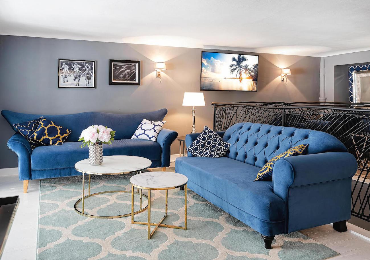 Blue retro sofas Vigo & Harto