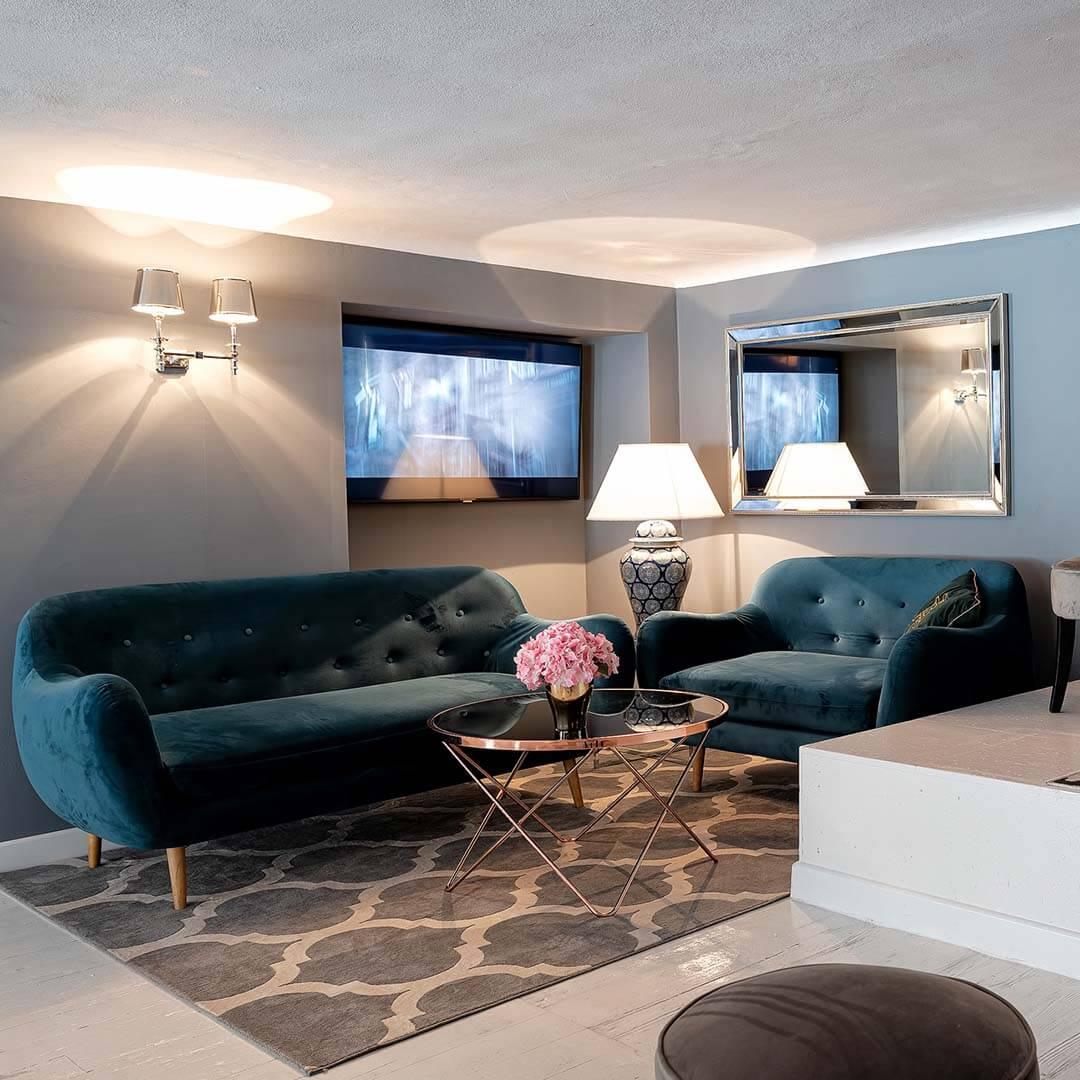 Blue Retro Style Sofa & Armchair