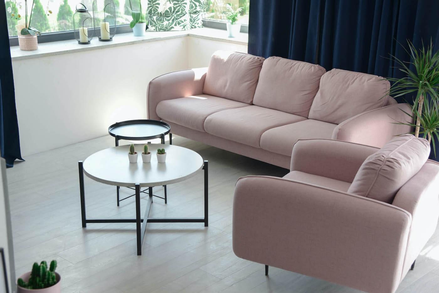 Pink Sofa and Armchair Kilburn