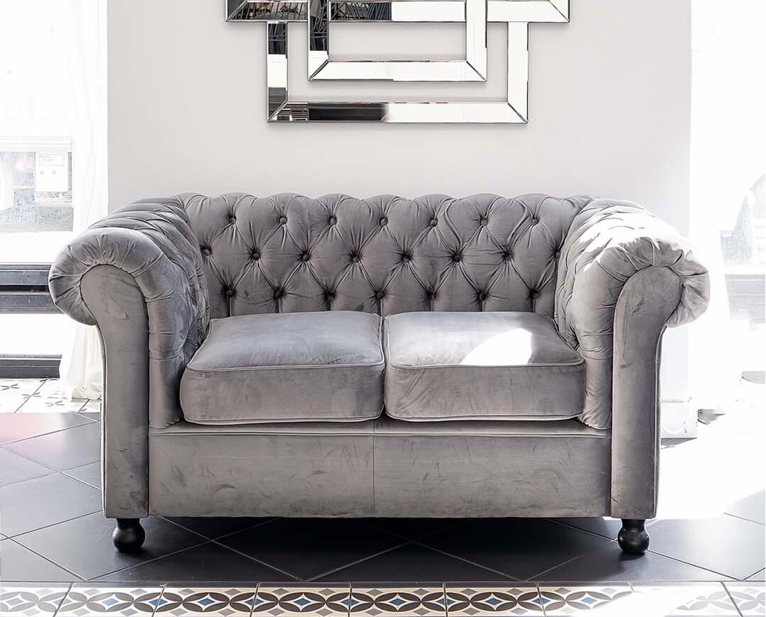 Small Grey Fabric Sofa Chesterfield