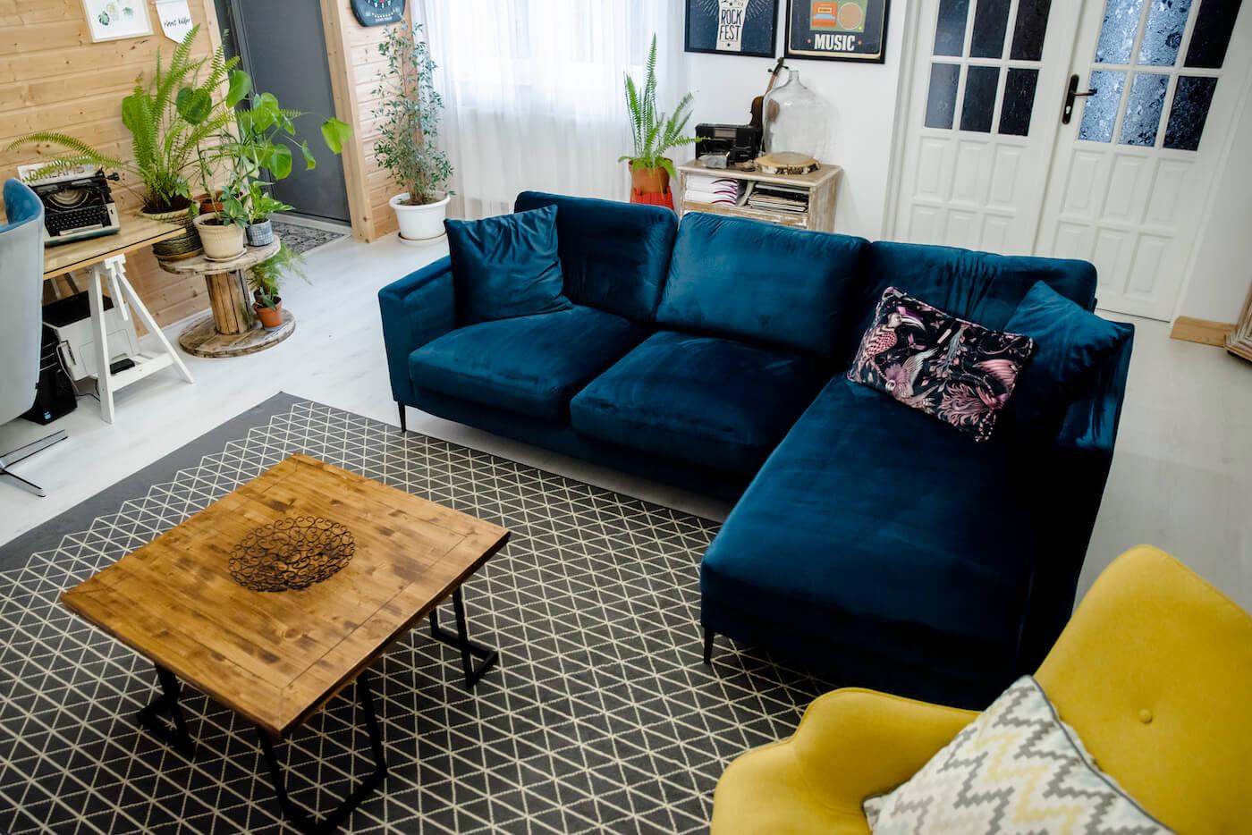 Navy Blue Velvet Corner Sofa